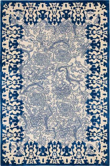 rug design cobalt motif CEOWMYQ