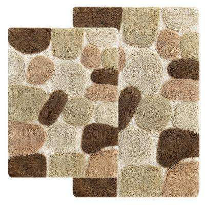 Rugs and mats 2-piece bath rug set in khaki HXWGUEL