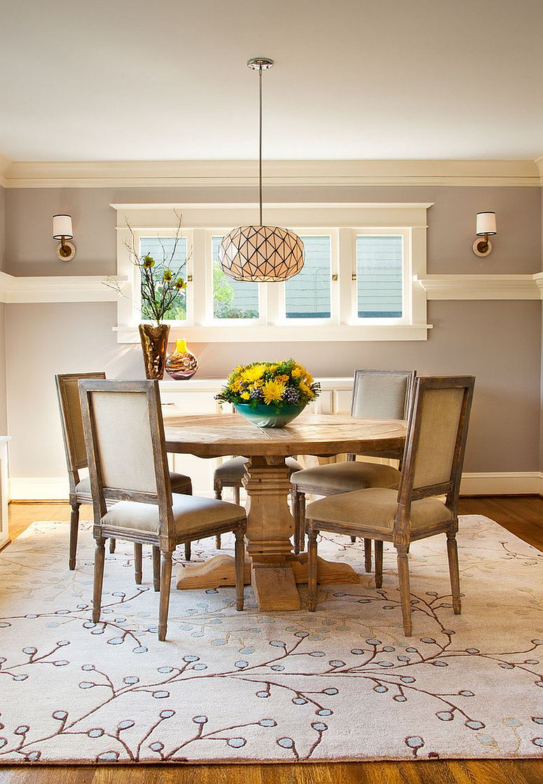 rugs for dining room dinning rooms:gorgeous dining room with round wood table and rustic dining  chairs IHKFZME