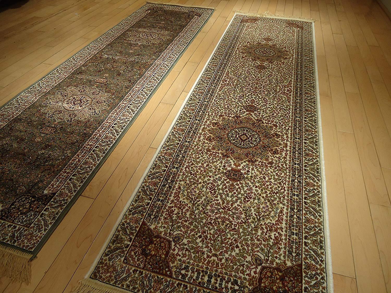 Rugs runners amazon.com: silk cream rug persian tabriz rugs long 2x12 hallway runner  ivory SKYPBAI