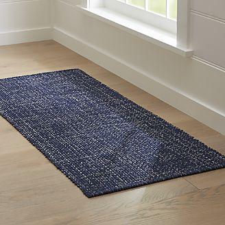 Rugs runners della indigo cotton flat weave rug runner 2.5x6 OJTJVBS