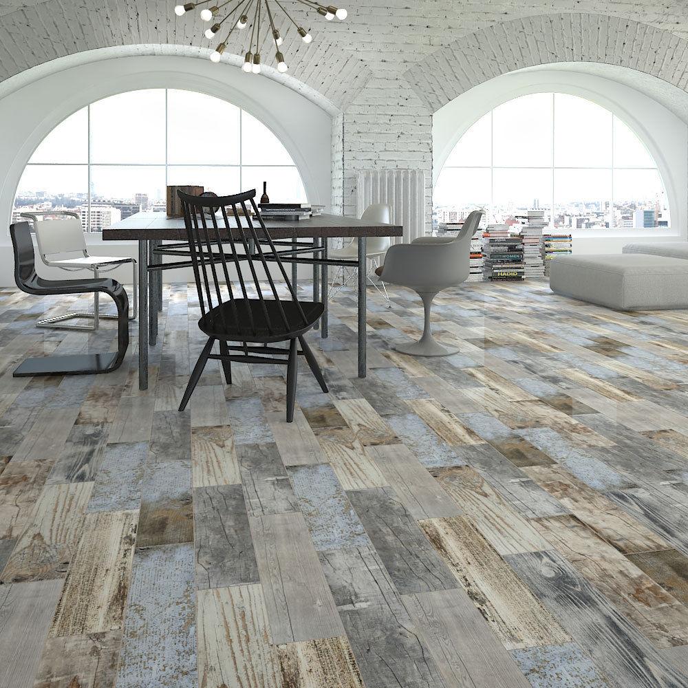 Rustic wood floor tile reclaimed rustic blue wood effect porcelain wall/floor tile 600x150x11mm  5-10sqm | ebay VKFEALE