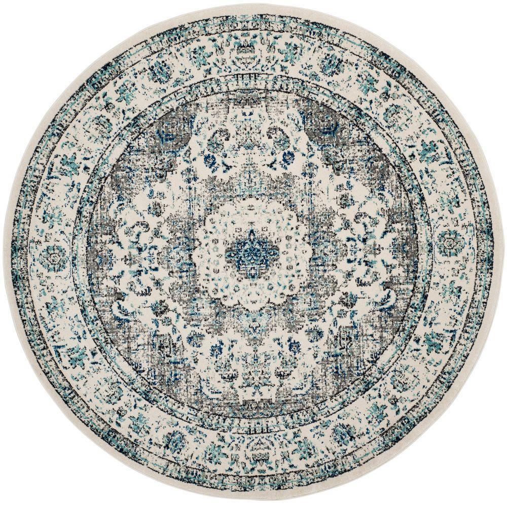 safavieh evoke gray/ivory 7 ft. x 7 ft. round area rug BHFALUY