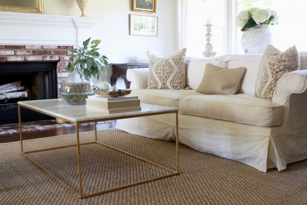 seagrass rugs white sofa living room modern coffee table JRBXZMA
