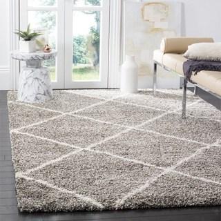 shag area rug safavieh hudson diamond shag grey/ ivory rug - 8u0027 ... VMWIFUH