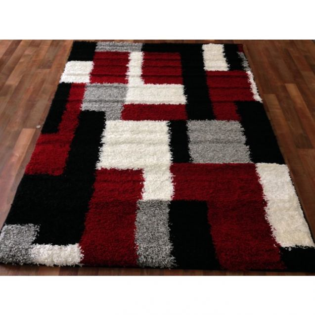 shaggy rug pattern black modern blocks shaggy area rug black white gray red blocks pattern EVBWAMF