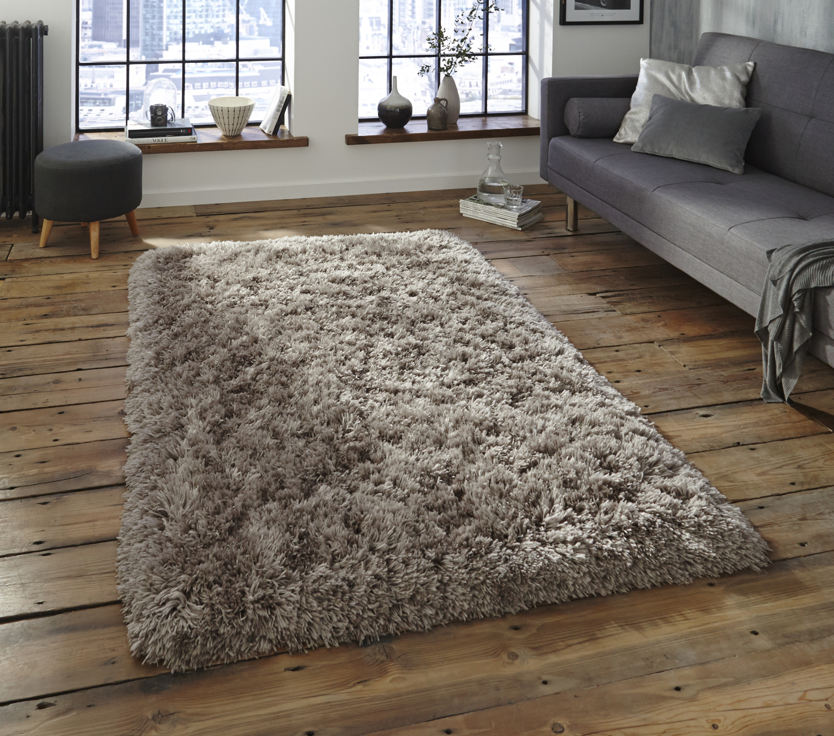 shaggy rugs grey thick shaggy 8.5cm pile rug luxurious hand tufted 100% acrylic polar UGEIUUQ