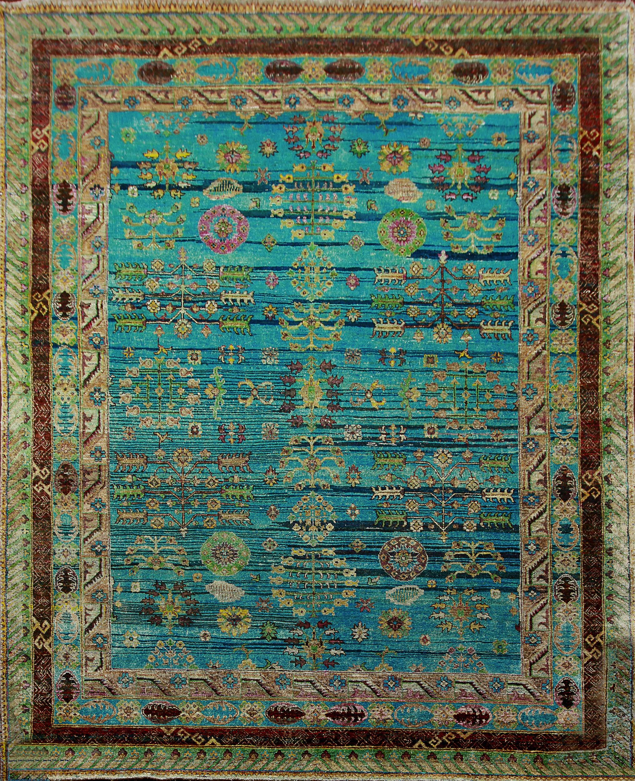 silk rugs rugsville blue sari silk rug 30012 8x10 QXPDVQB