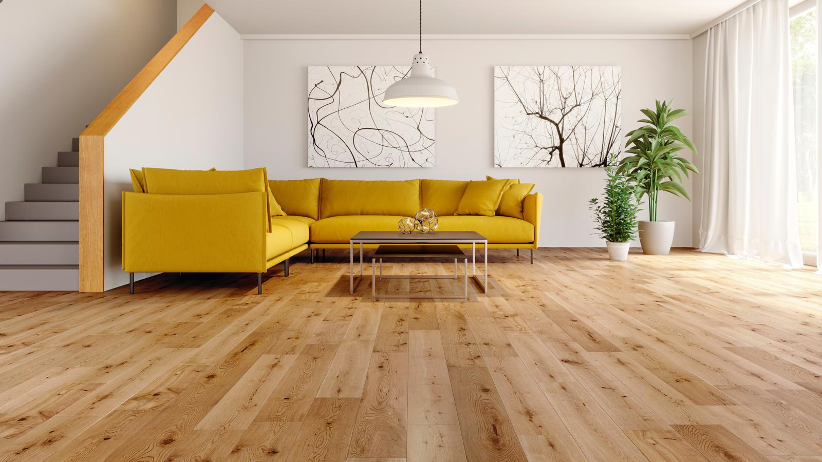 Solid wood floor natura european solid oak satin lacquered wood flooring VHZVBIH