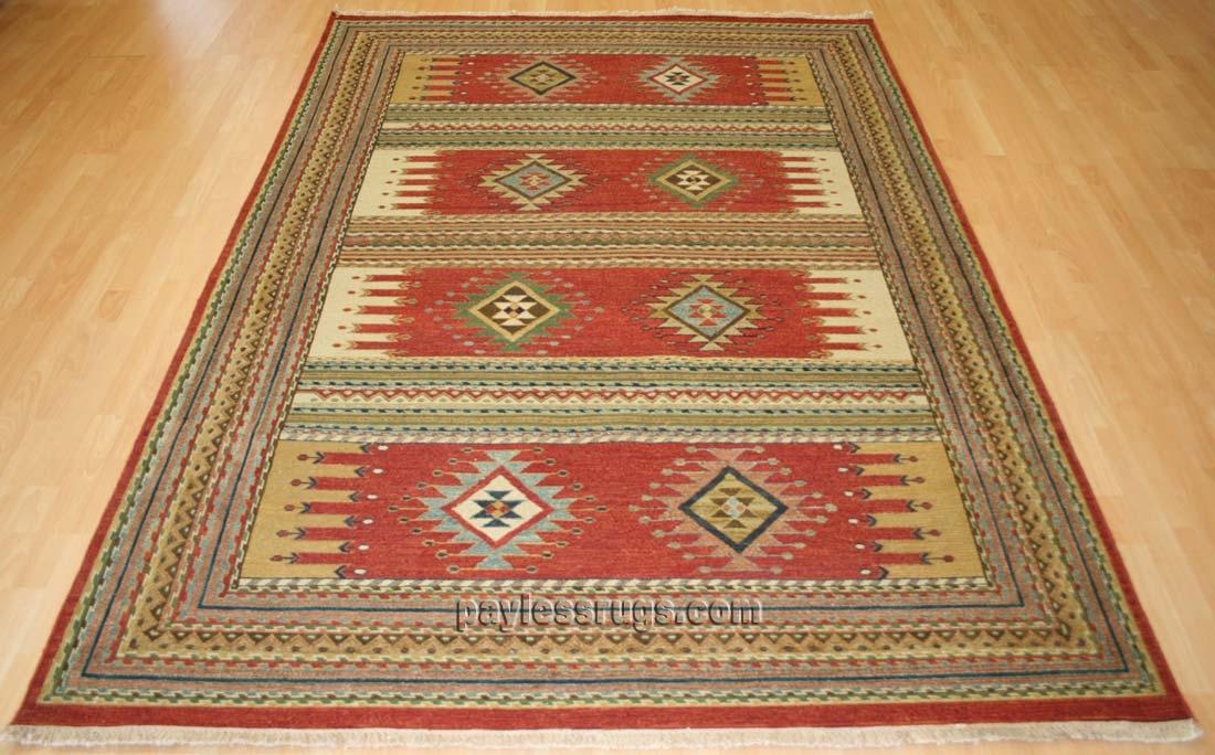 southwestern rugs hacienda hac-51 rust flat weave hand knotted 100% wool rugs on sale AJITGLY