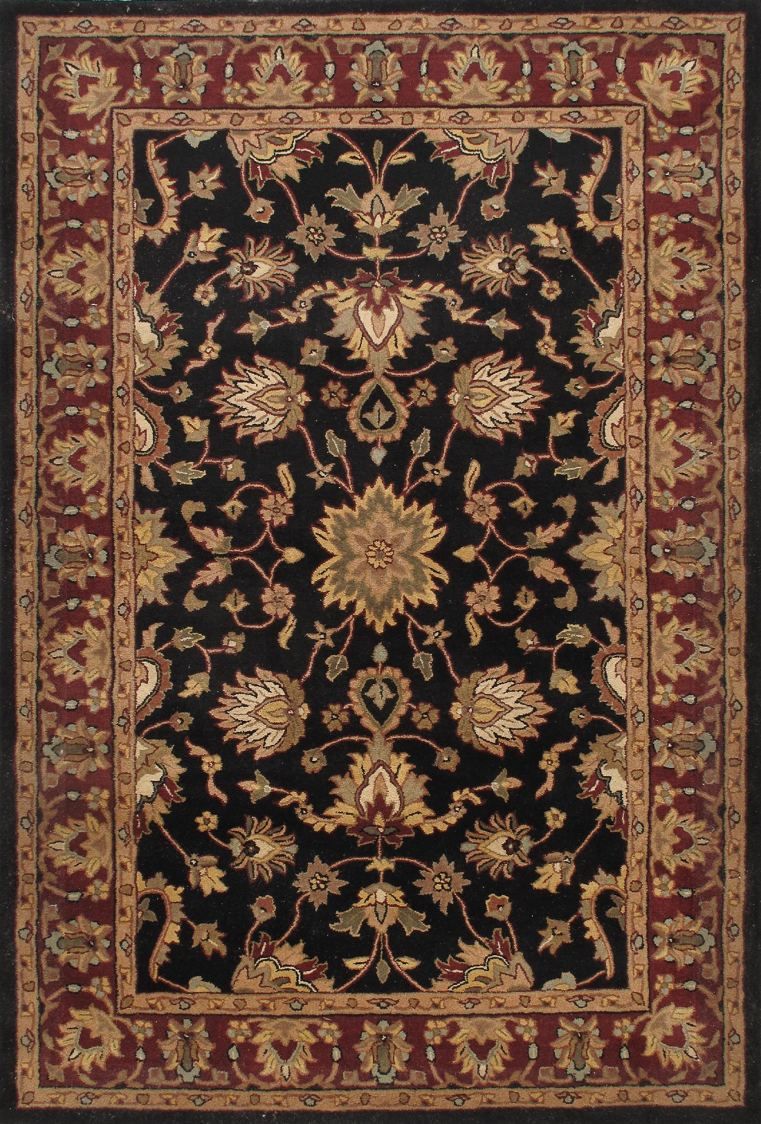 traditional rugs rug royal traditional wool 12157 black red XPLWZZZ