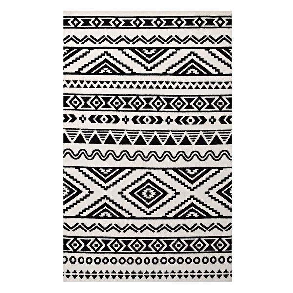 tribal rug ivy bronx shaun geometric moroccan tribal black/white area rug | wayfair LMVYXXK