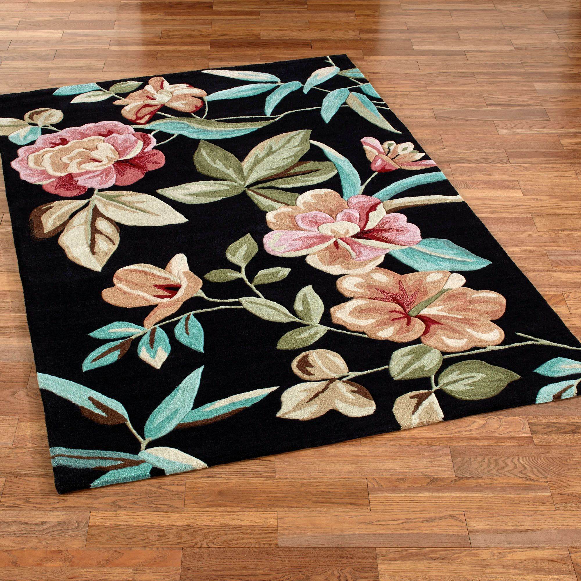 tropical area rugs flor bloom rectangle rug black NUAFIZS