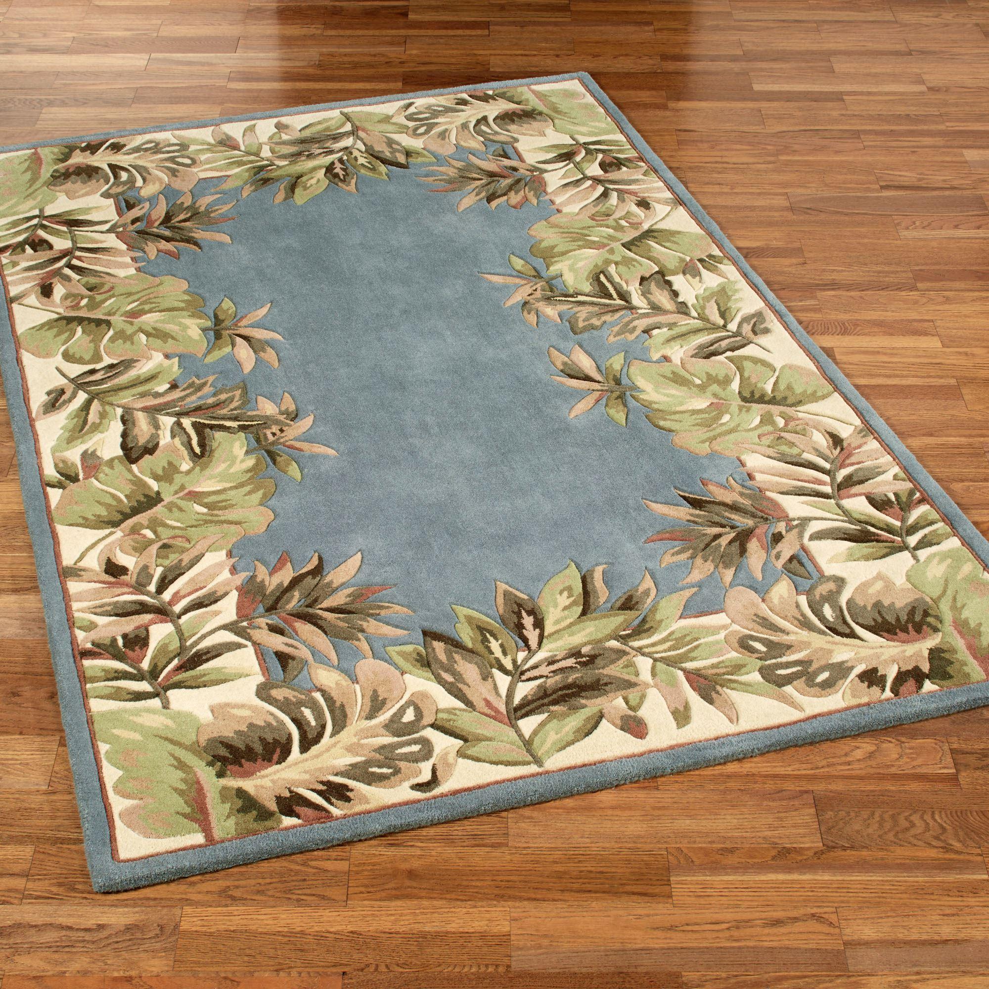 Tropical rugs paradise border rectangle rug blue shadow PMKJKXY