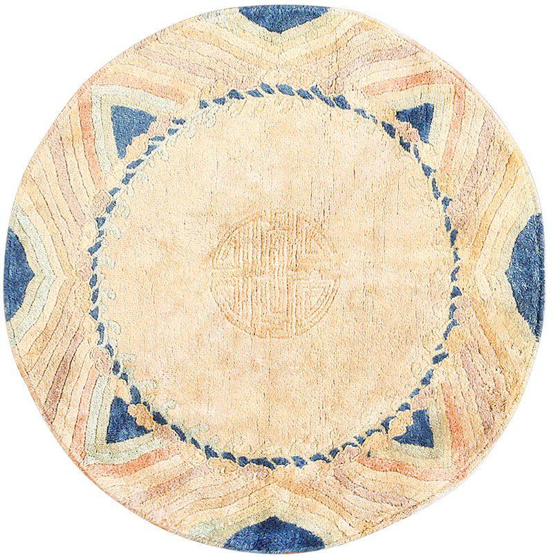 vintage chinese art deco circular rug 48051 detail/large view JYKGZAK