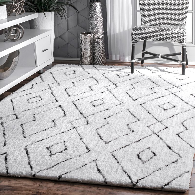 white area rugs peraza hand-tufted white area rug VWNQZOM