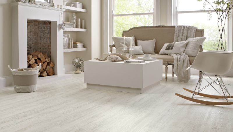 Providing the elegant room to your house by using white wood flooring
