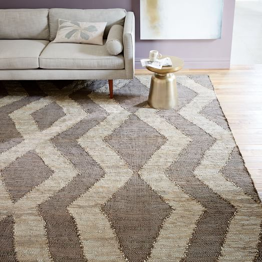 woven recycled leather rug QPHEHIY