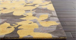 Yellow area rug best jaipur blue orchid hand-tufted floral pattern wool yellow / gray area FOJJOIT