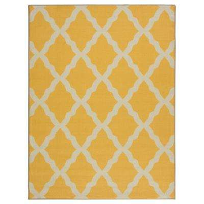 Yellow area rug glamour collection contemporary moroccan trellis design yellow ... QKCAGEA