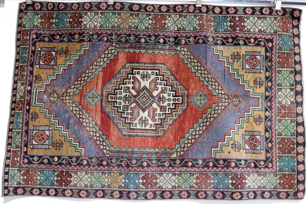za-196 vintage turkish rug (3u0027 7 BEFZNJW