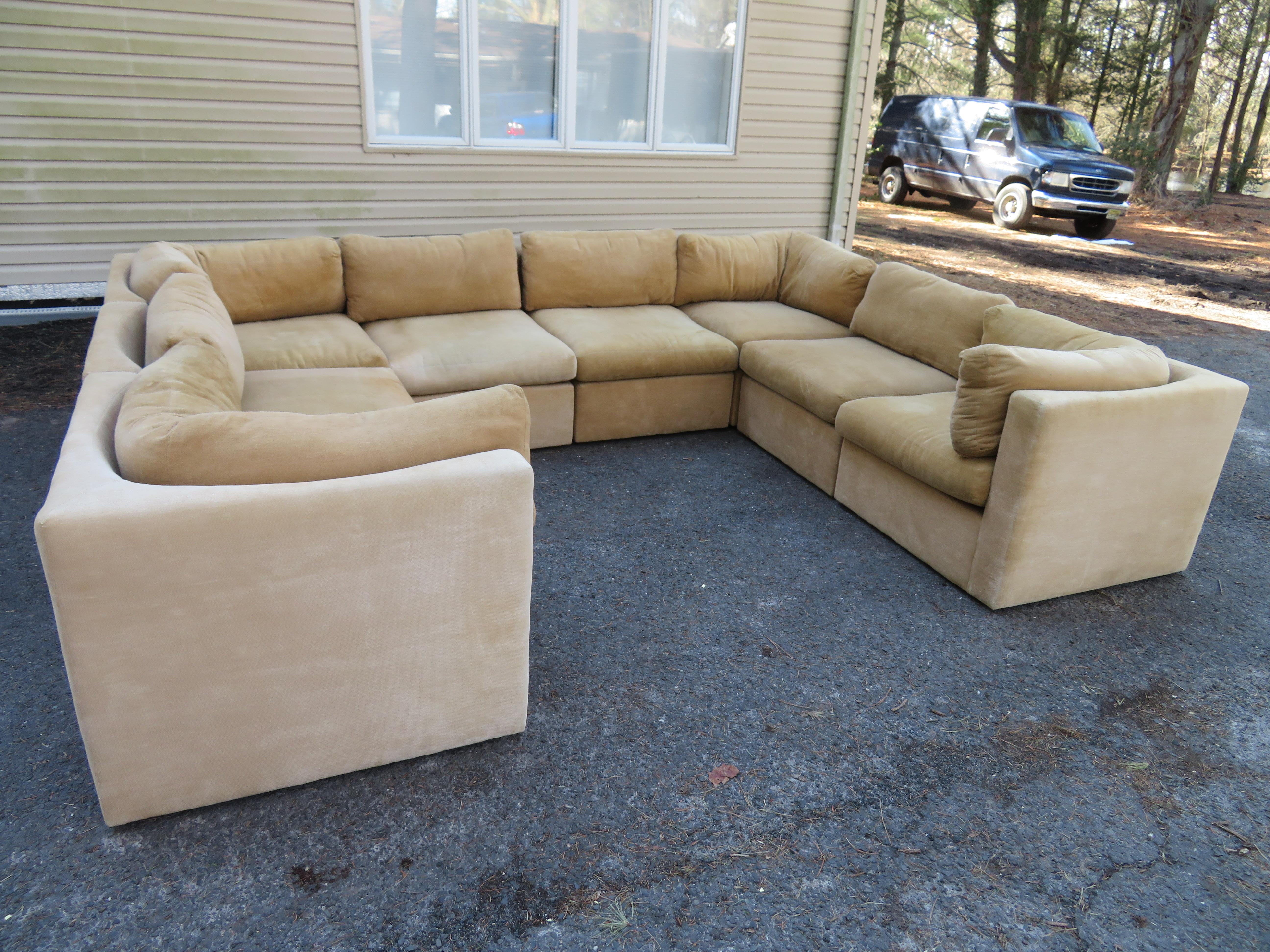 Wonderful 8 Piece Milo Baughman Curved Seat Sectional Sofa Mid