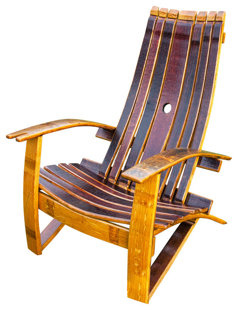 Wine Barrel Adirondack Chair With Cover - Rustic - Adirondack Chairs