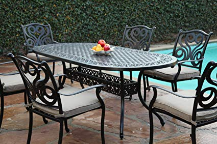 Amazon.com : CBM Outdoor Cast Aluminum Patio Furniture 7 Pc Dining