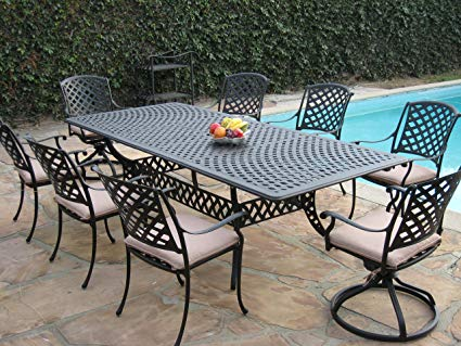 Amazon.com: Cast Aluminum Outdoor Patio Furniture 9 Piece Extension