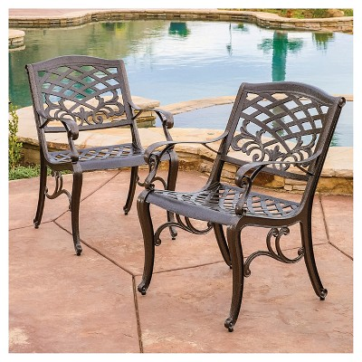 Sarasota Set Of 2 Cast Aluminum Patio Chair - Hammered Bronze