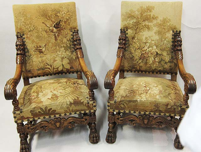 French Antique Armchairs in Louis XIII or Louis XIV Style