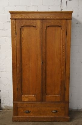 Early American Solid Oak Knockdown Armoire Primitive Antique