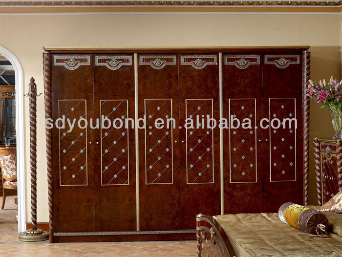 0026 European Style Antique Wooden Wardrobe Designs,Royal Bedroom