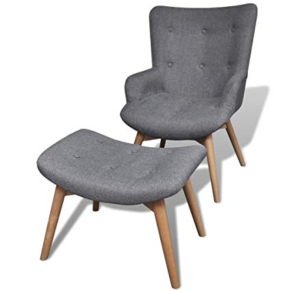 Amazon.com: vidaXL Armchair and Foot Stool French Chair Bedroom