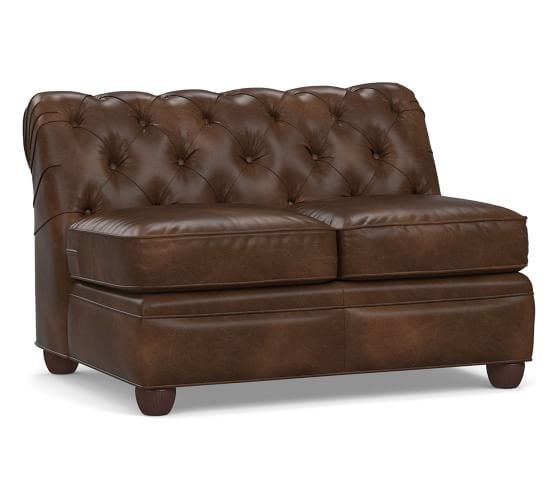 Chesterfield Leather Armless Loveseat | Pottery Barn