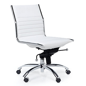 White Office Chair | Modern Malcolm Armless Chair | Z Gallerie