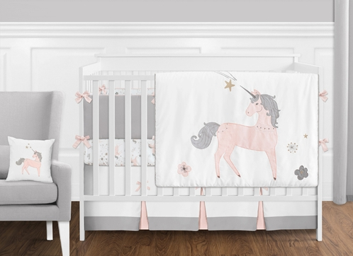 9 pc. Pink, Grey and Gold Unicorn Baby Girl Crib Bedding Set with