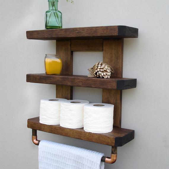 Bathroom Shelf Bathroom Shelves Wood Bathroom Shelf Rustic | Etsy