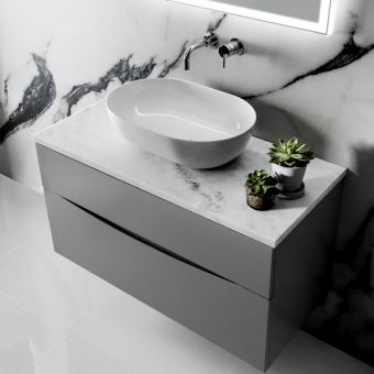 Bauhaus Svelte Vanity Unit with Mineral Marble Basin : UK Bathrooms