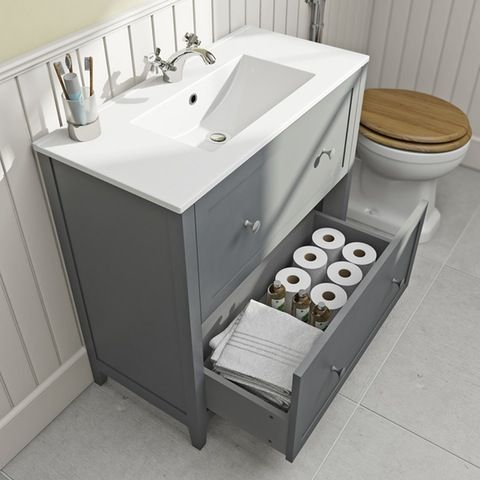 The Bath Co. Camberley satin grey floorstanding vanity unit and