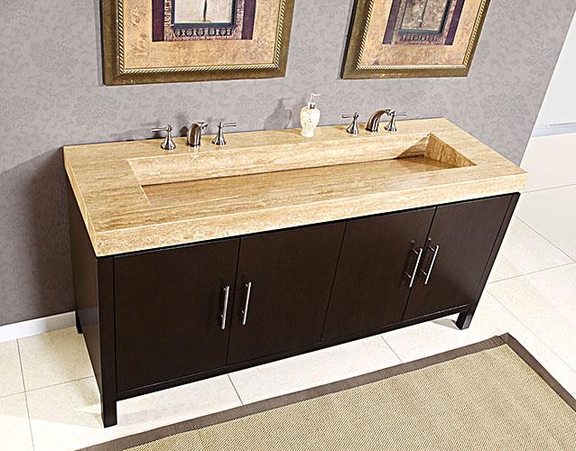 Silkroad 72 inch Travertine Top Bathroom Vanity, Travertine
