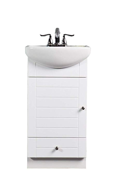 SMALL BATHROOM VANITY CABINET AND SINK WHITE - PE1612W NEW PETITE