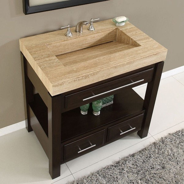 Shop Silkroad Exclusive Travertine Top Single Stone Sink Bathroom