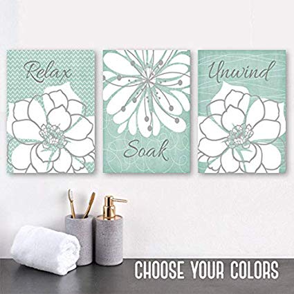 Amazon.com: Seafoam Bathroom Wall Art Canvas or Prints Relax Soak