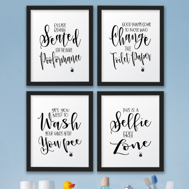The John Funny Bathroom Wall Decor Signs/Quotes Set Art Prints