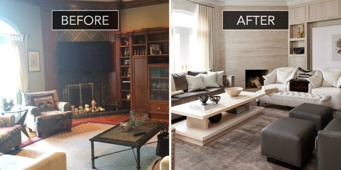 Beautiful living rooms:before and after of a sophisticated family room