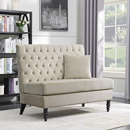 Amazon.com: Belleze Beige Velvet Modern Loveseat Bench Sofa Tufted