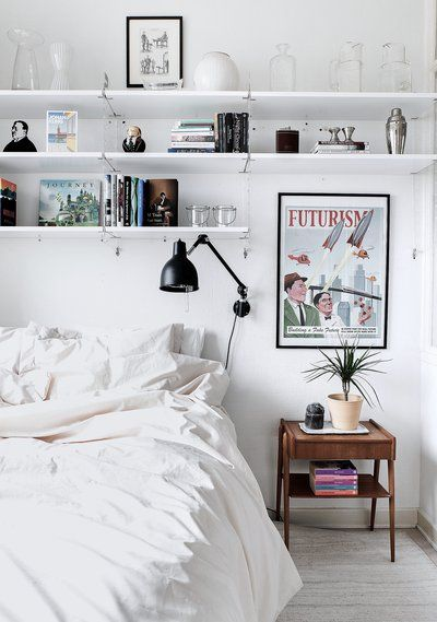 casual bedroom | home, interior, white, shelving, bedding, vintage