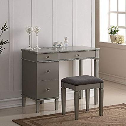 Amazon.com: Linon Alexandria Bedroom Vanity Set in Silver: Kitchen