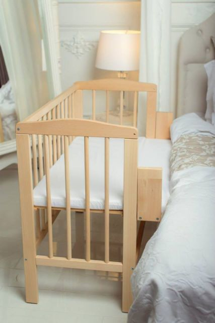 BABY Co-sleeper Crib Bedside Cot Bed Wooden White Mattress Next to